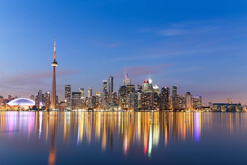 Toronto Skyline at Twilight in the Winter