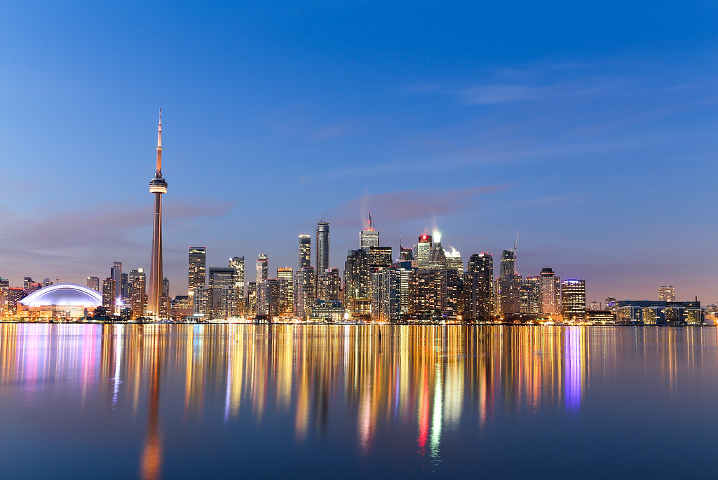 Toronto Skyline at Twilight in the Winter
