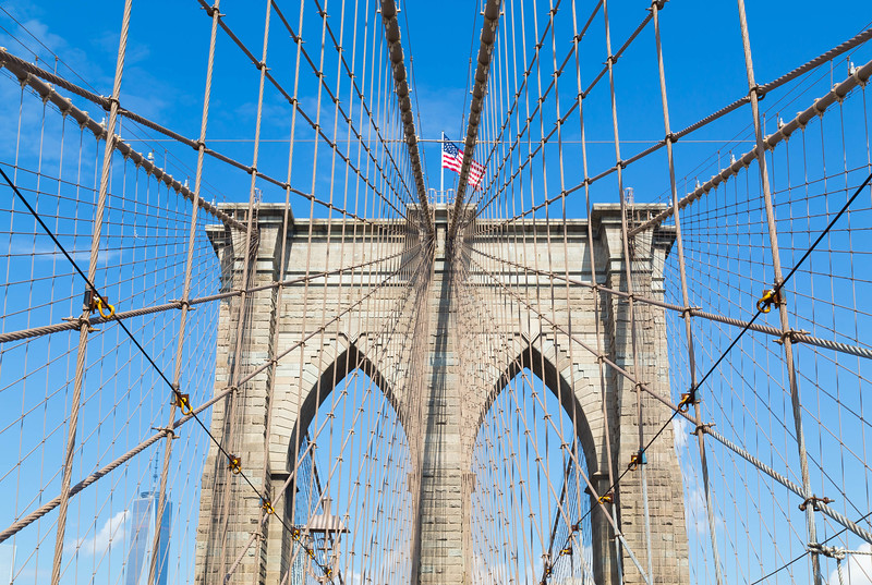 Arches of Brooklyn Bridge in NYC