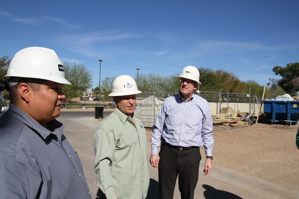 Jonathan Reckford, CEO Habitat International arrives at Tempe parkview Townhomes in Tempe, Arizon