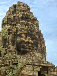 Closeup of the eastern gate and entrance to Banteay Kdei with the smiling face of Jayavarman VII