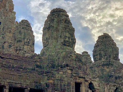 """""""Seven Faces of VII"""": Seven faces of Jayavarman VII on several  of the Towers of Bayon seen from the second terrace"""