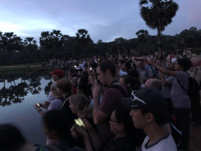 Looking south to the other tourists and photographers who joined me on the shore of The Norther Reflection Pond on my first Angkor Wat sunrise trip