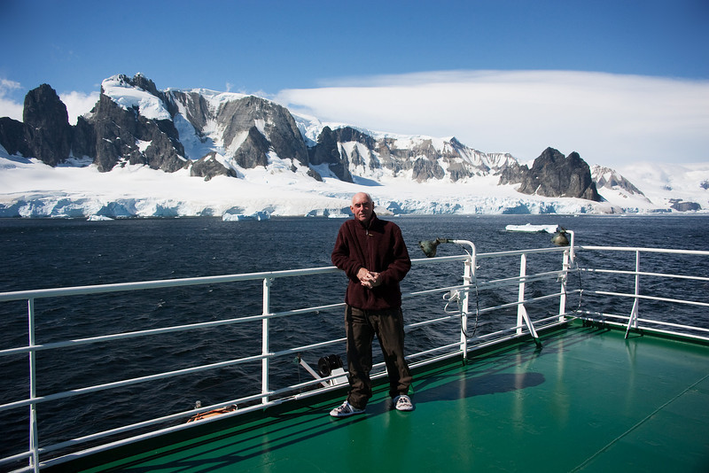 This is Me with Elephant Island behind. Shackleton's men were stranded here for a winter while Shackleton sailed to South Georgia in a small boat to get help. Not one man perished. An amazing feat.