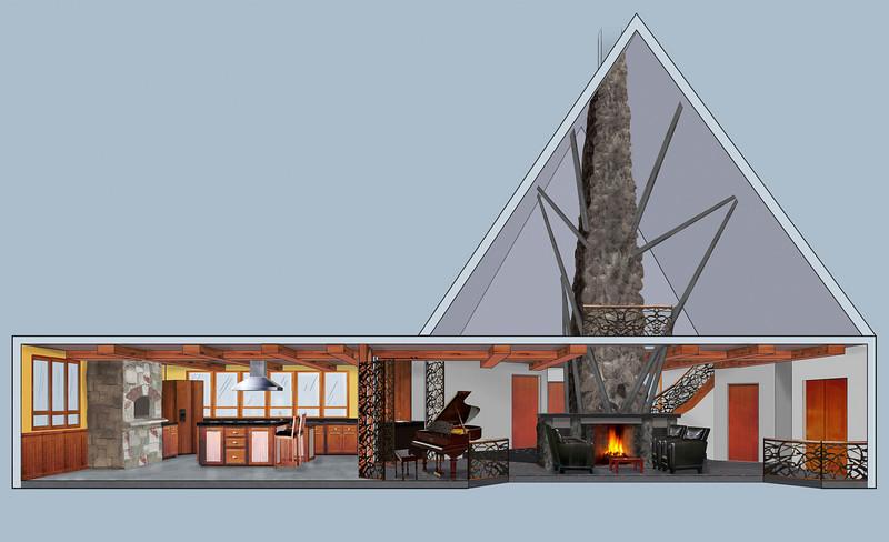 "INTERIOR DESIGN RENDERING | SketchUp/Photoshop<br /> Client: Cheryl Gardner Interior Design<br /> Featured in ""Architecture in Perspective 20""."