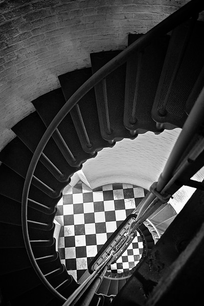 B&W Cape Hatteras Lighthouse Stairwell