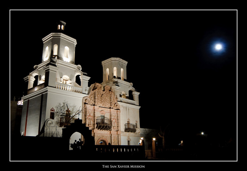 (1.09.2009)  The San Xavier Mission at night.
