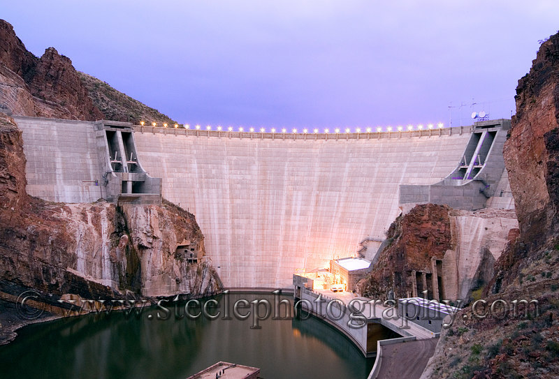The Roosevelt Dam on the Salt River in central Arizona on the morning of January 5, 2007.  This dam was first constructed in 1911 and took approximately 6 years to complete.  In 1996, renovations of the dam were completed and the height was raised 77 feet to 357 feet total.  The dam provides water and electricity to the Phoenix metropolitan area.
