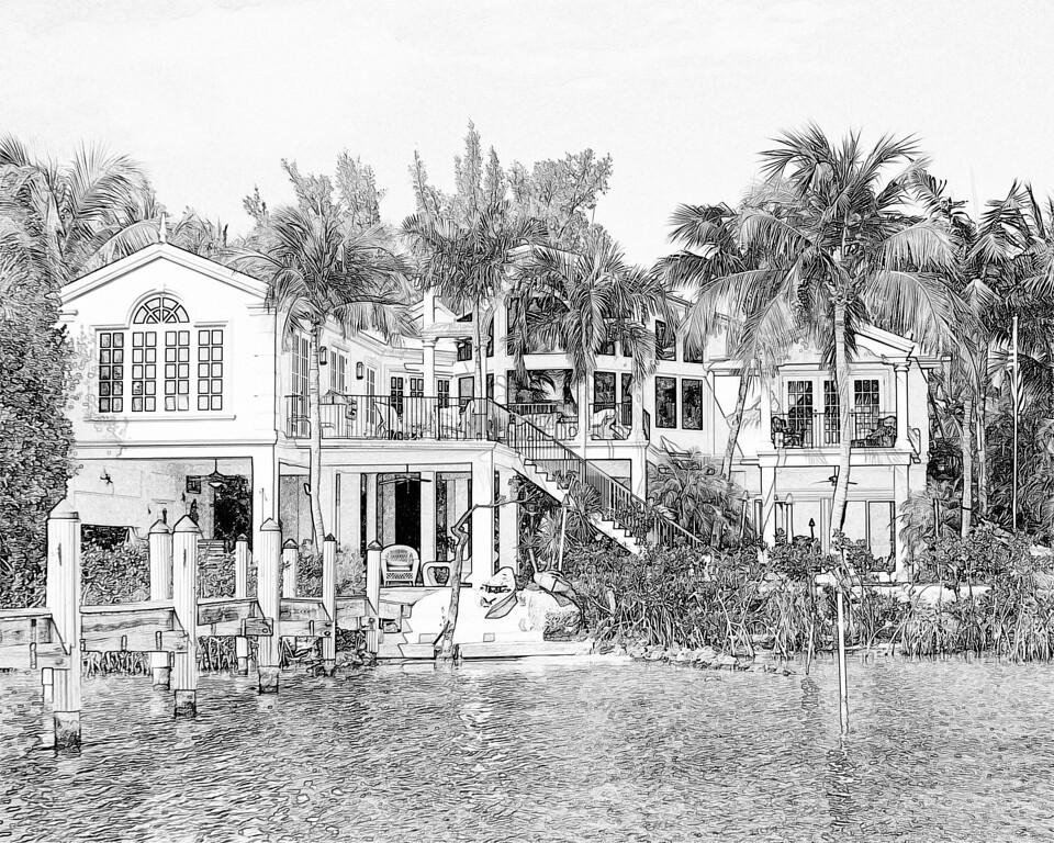 South Bounty Ln Key Largo Florida pencil sketch
