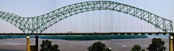 "Called the ""New Bridge"", the Hernando de Soto ""M"" shaped bridge  carries Interstate Highway 40 car traffic between Memphis Tennessee to West Memphis, Arkansas."