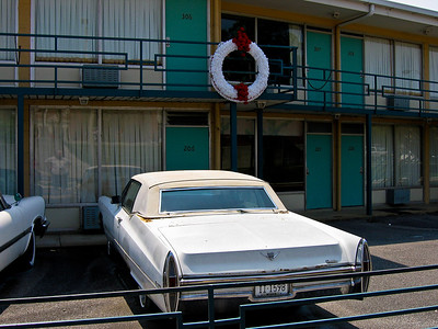 The Lorraine Motel where Rev. King was assassinated is now the site of the National Civil Rights Museum. King was standing on the motel's balcony at the place near the wreath.