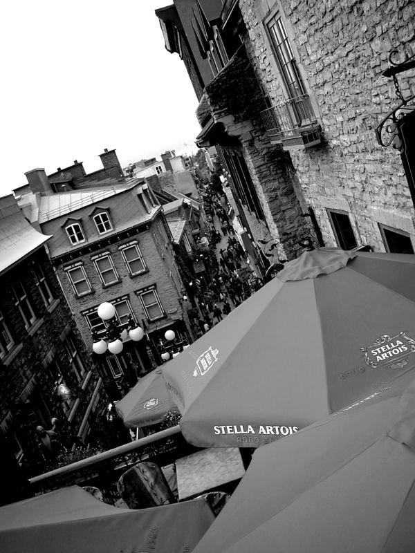 Umbrellas in le petit Champlain, Quebec