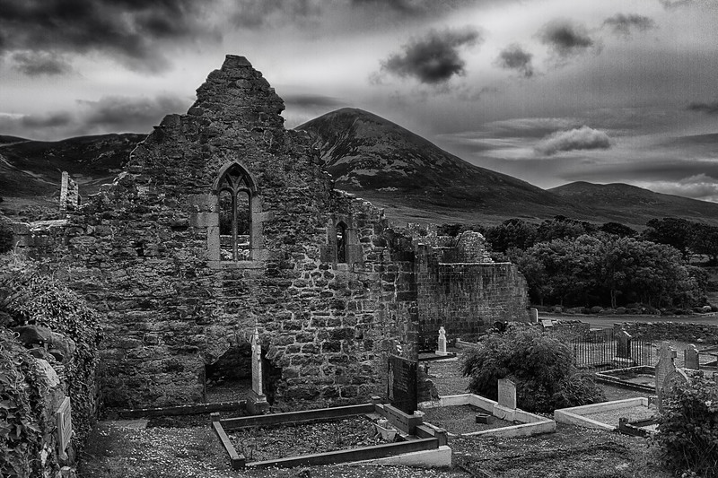 The Murrisk Abbey, with Croagh Patrick mountain in the background