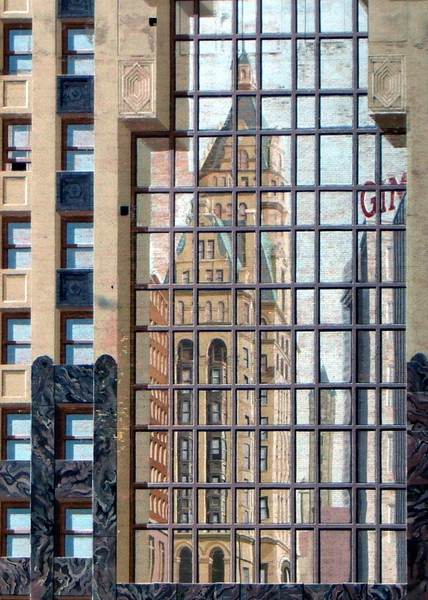 Downtown Milwaukee Wisconsin in Grand Theater reflection