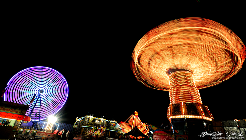 The Wave Swinger and Ferris Wheel @ Gwinnett County Fair - Georgia,  USA