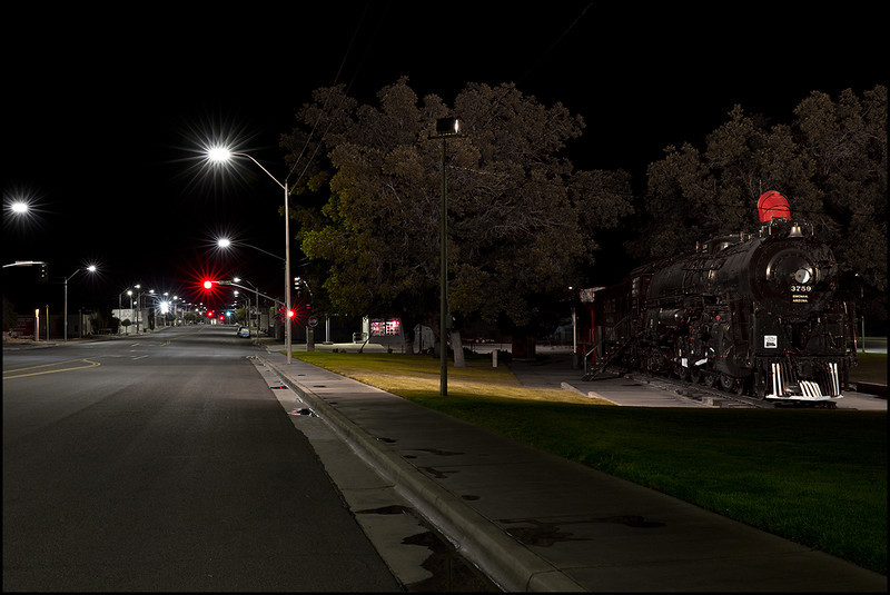 <center><i>Nightlife, Beale Street, Kingman, Arizona, viewed from Metcalf Park </i></center>#5525-7D