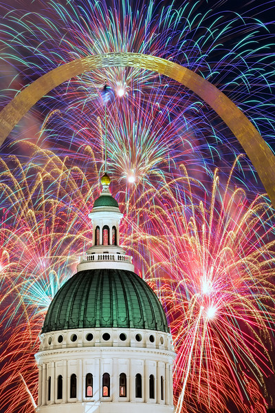 Fireworks under the Arch