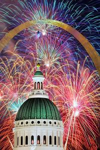 Fireworks under the Arch