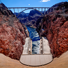 Hoover Dam and Black Canyon of the Colorado River between the US states of Arizona and Nevada - USA