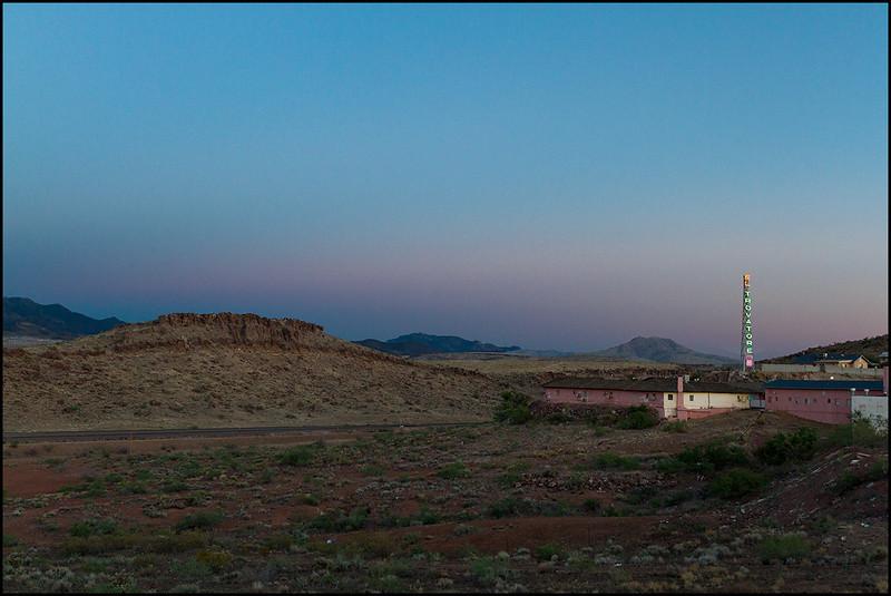 <center><i>El Travador, Kingman, at Dusk (faux monastery) </i></center>#5525-7D
