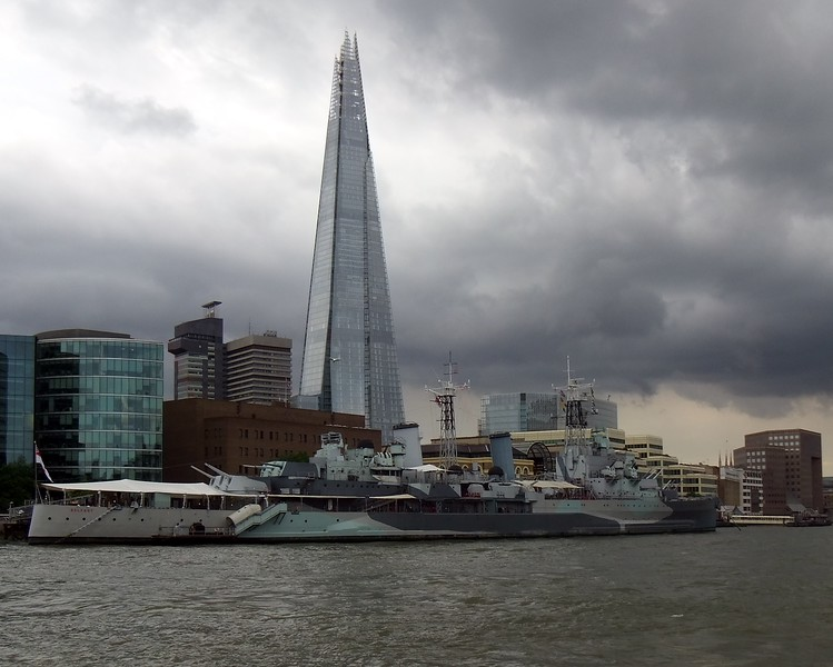 """The """"Shard"""" and the Belfast on the Thames, London"""