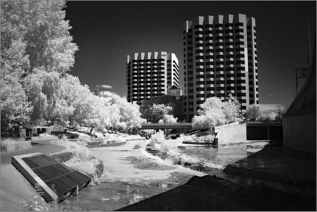 Guadalupe River Trail, San Jose, CA, in infrared