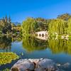 San Gabriel mountains reflected in Chinese Garden Lake.