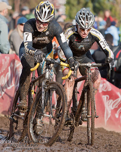 Andrea Smith of Somerville, MA (#7) (Minuteman Road Club of the USA) cuts in front of Kerry Barnholt of Mountain View, CA (#36) during the final laps of the USA Cycling Cyclo-Cross Nationals in Bend Oregon on December 12, 2010.  Kathy ended up 4th place overall.