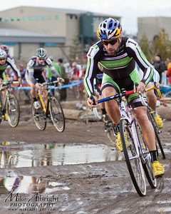 Timothy Johnson (#1) leads out a strong pack of elite racers during the1st lap   of the USA Cycling Cyclo-Cross Nationals in Bend Oregon on December 12, 2010.