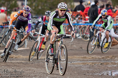 Jeremy Powers (#2) (Jelly Belly Cycling Team) leads out a pack during the first lap with Kona's Ryna Trebon (#54) close behind at the USA Cycling Cyclo-Cross Nationals in Bend Oregon on December 12, 2010.  Powers ended up getting caught in a crash and finished 3rd, while Trebon finished in 2nd overall.