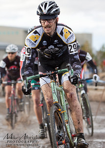 Scott Chapin (#29) (Rocklobster) of Santa Cruz, CA, sporting a nice handlebar mustache, rides the1st lap of the USA Cycling Cyclo-Cross Nationals in Bend Oregon on December 12, 2010.