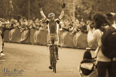 Durango resident Todd Wells (Specialized)  put his arms up in victory as he crosses the line and becomes the 2010 USA Cycling Cyclo-Cross Champion. The Nationals were held in Bend Oregon on December 12, 2010.