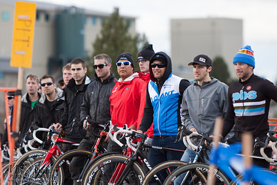 Pit crew personnel waits arrival of the elite men during the USA Cycling Cyclo-Cross Nationals in Bend Oregon on December 12, 2010.