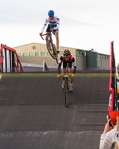 Danny Summerhill (Chipolte Dev. team) catches a little air over the flybridge during the US Grand Prix series race #7 in Bend, Oregon on December 10,2011. Summerhill placed 3rd in the Elite Men's division.