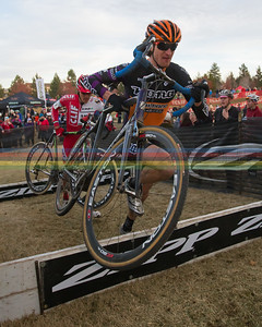 Barry Wicks (Kona) rakes the barriers with ease at the US Grand Prix series race #7 in Bend, Oregon on December 10,2011.