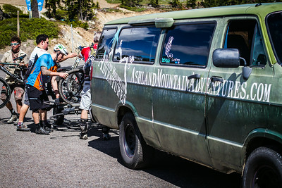 One of the original shuttle vans is still rolling loads of bikes and people up the hill at 65mph.