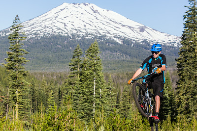 Alex Grediagin in front of Mt. Bachelor, less than 20 miles from the town of Bend, Oregon.   Mt. bachelor will host the 2015/16 USA Cycling Enduro National Championships on new trails right up there.
