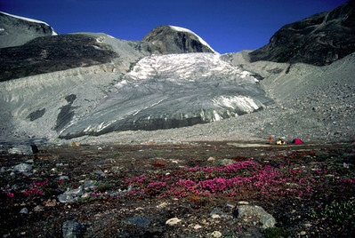 Camp in front of a retreating glacier