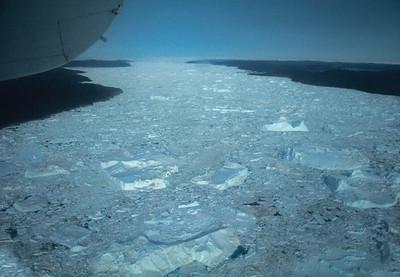 Jakobshavner ice fjord from plan, looking East