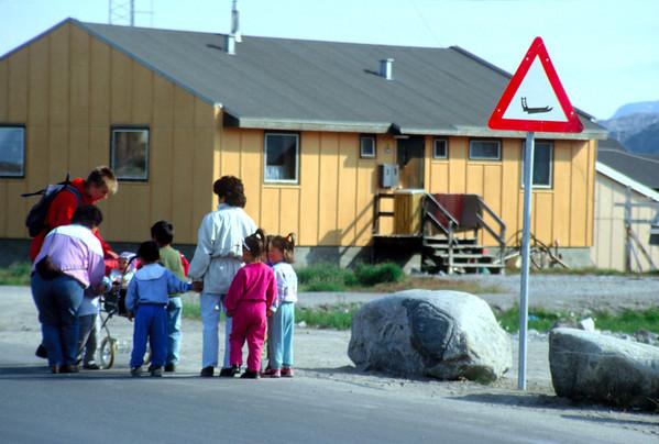 Ilulissat street scene, dog sledge crossing