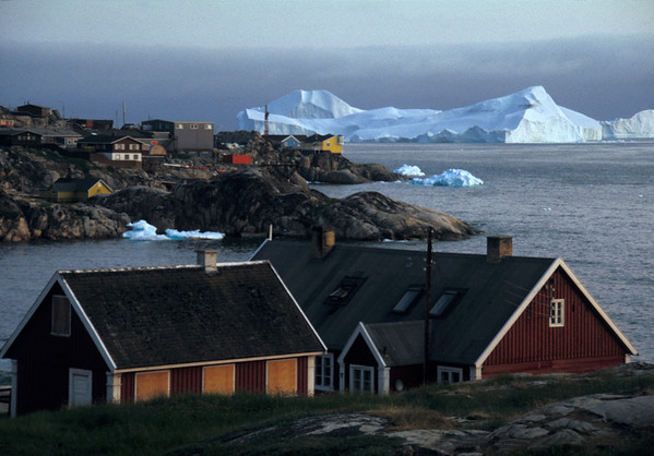 Ilulissat houses at ice fjord mouth
