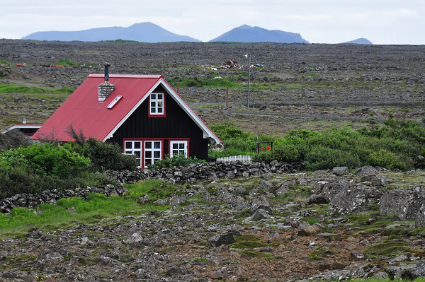 Icelandic dwelling in old lava stream