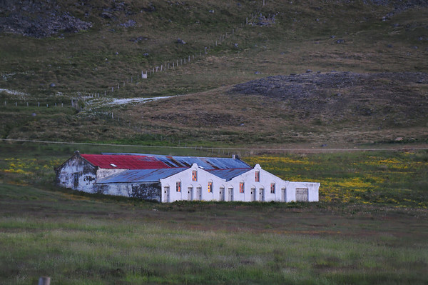 Gardsstadir farm house in midnight sun light