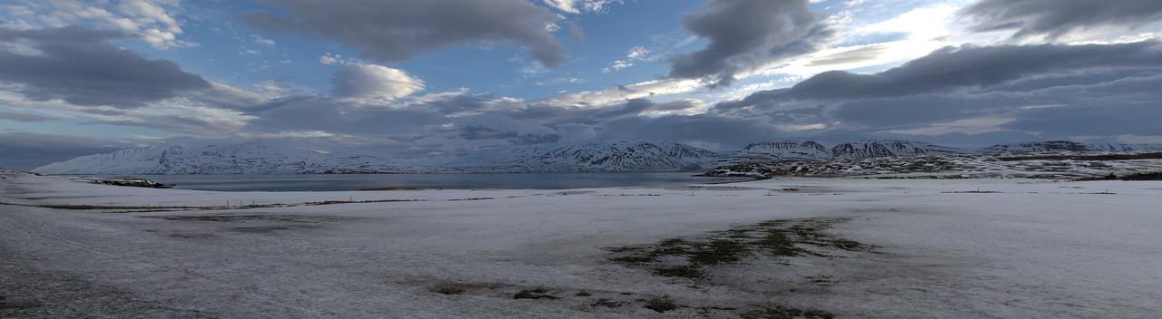Galmaströnd looking East over Eyjafjördur to Flateyjarskagi
