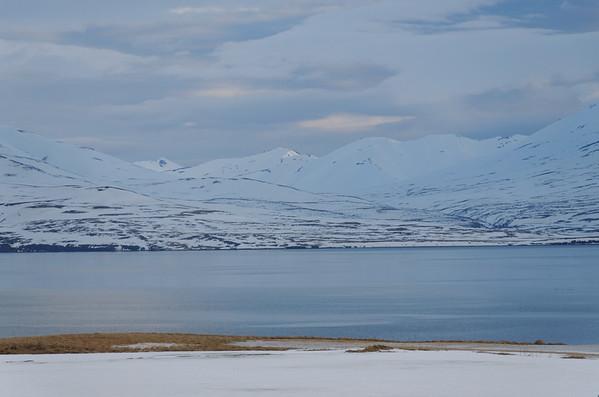 Galmaströnd looking East over Eyjafjördur to Grenivik, Flateyjarskagi