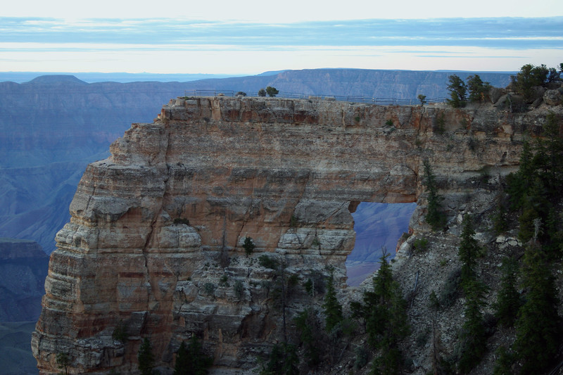Angels Window -  early morning from the north rim - viewing southeastward about 8 mi. (13 km) across the Grand Canyon, to the south rim.