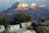 From the shaded Kaibab limestone of Bright Angel Point - to the day's last sunlight upon the peaks of Brahma Temple and Zoroaster Temple - Grand Canyon.