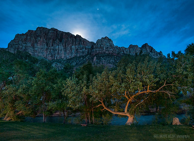 20 second exposure: Moonrise over Zion