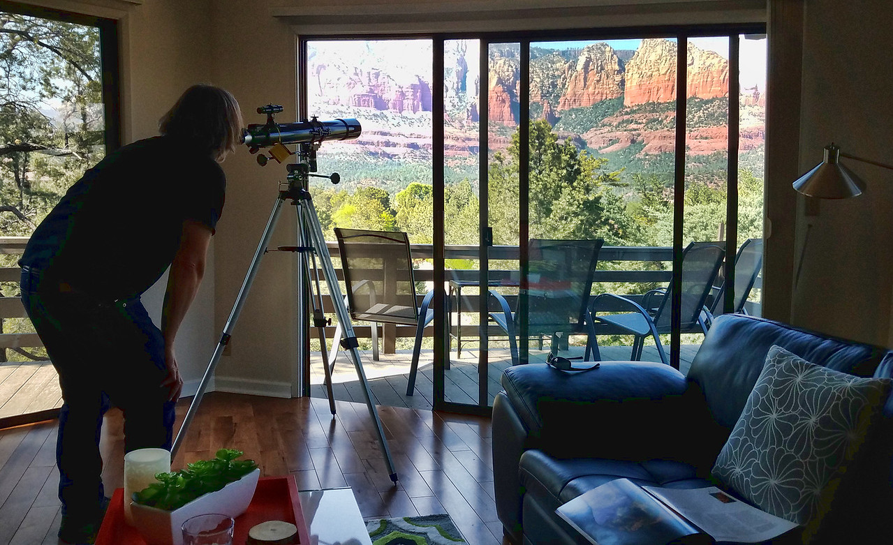 Our amazing AirBnB in uptown Sedona complete with a telescope and 360 degree views!  Always better and cheaper than a hotel, and this one in particular was stunning.