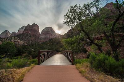 Daybreak over Zion bridge
